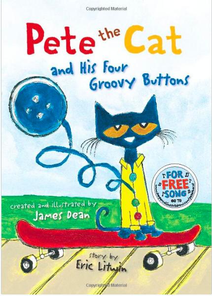 台語|Pete the Cat and His Four Groovy buttons/ 皮特貓和他的四顆時髦鈕扣/ 皮妥貓佮伊个鑠奅鈕仔